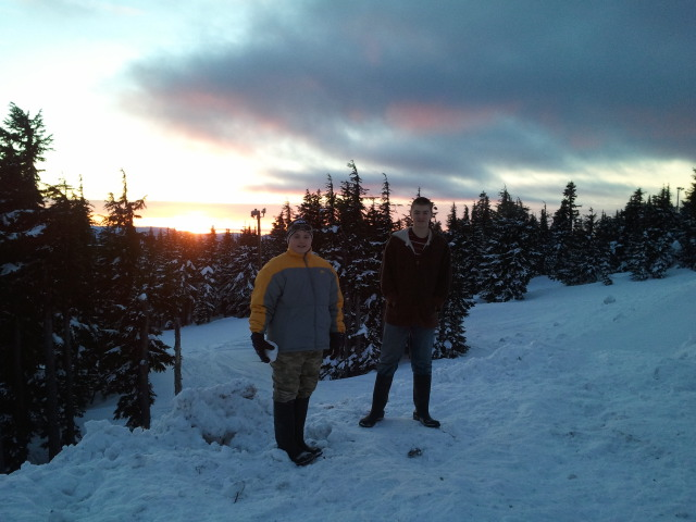 Mount Hood Ben and Dylan in snow