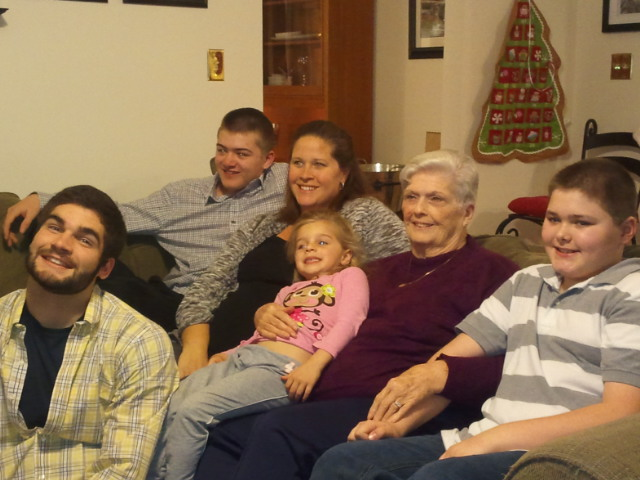 Grandmom and her grandkids Christmas 2012