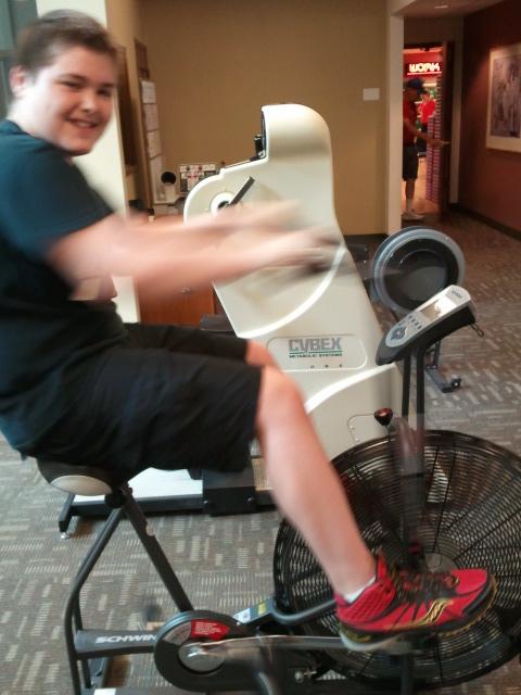 Ben on workout bike