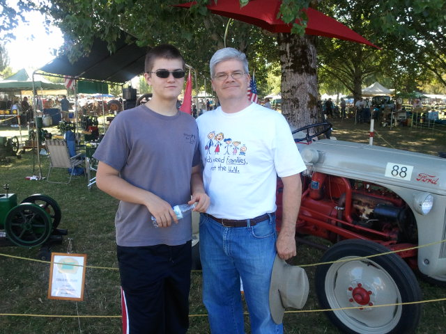 Doug and Dylan with 1948 Ford Tractor
