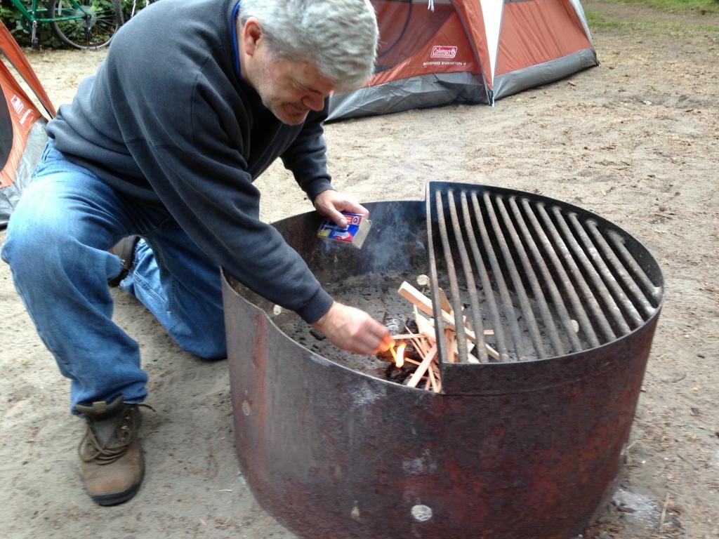 Doug starting fire at Fort Stevens 2013