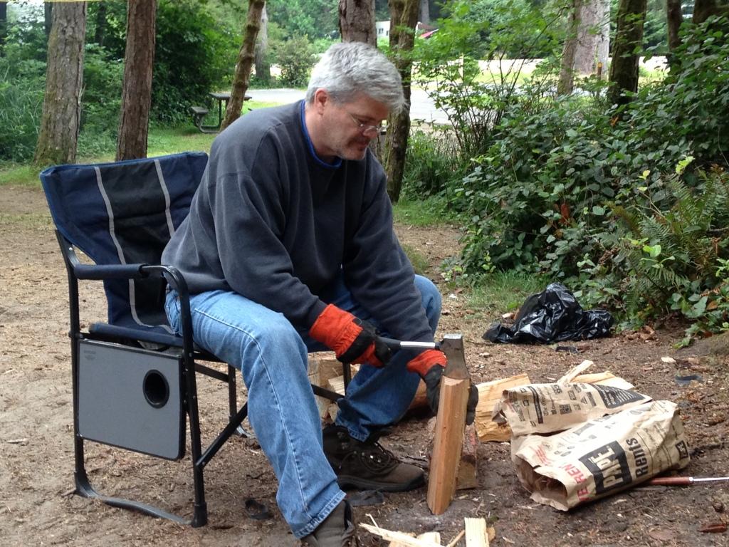 Doug chopping wood at Ft Stevens
