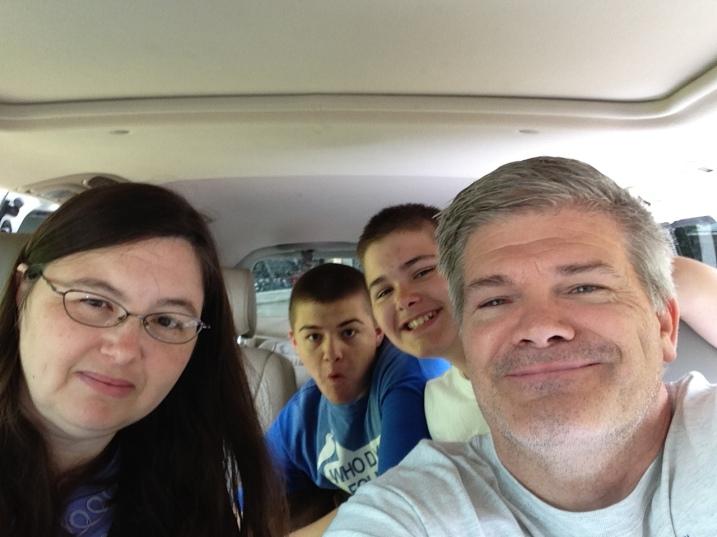 Family in van heading to coast