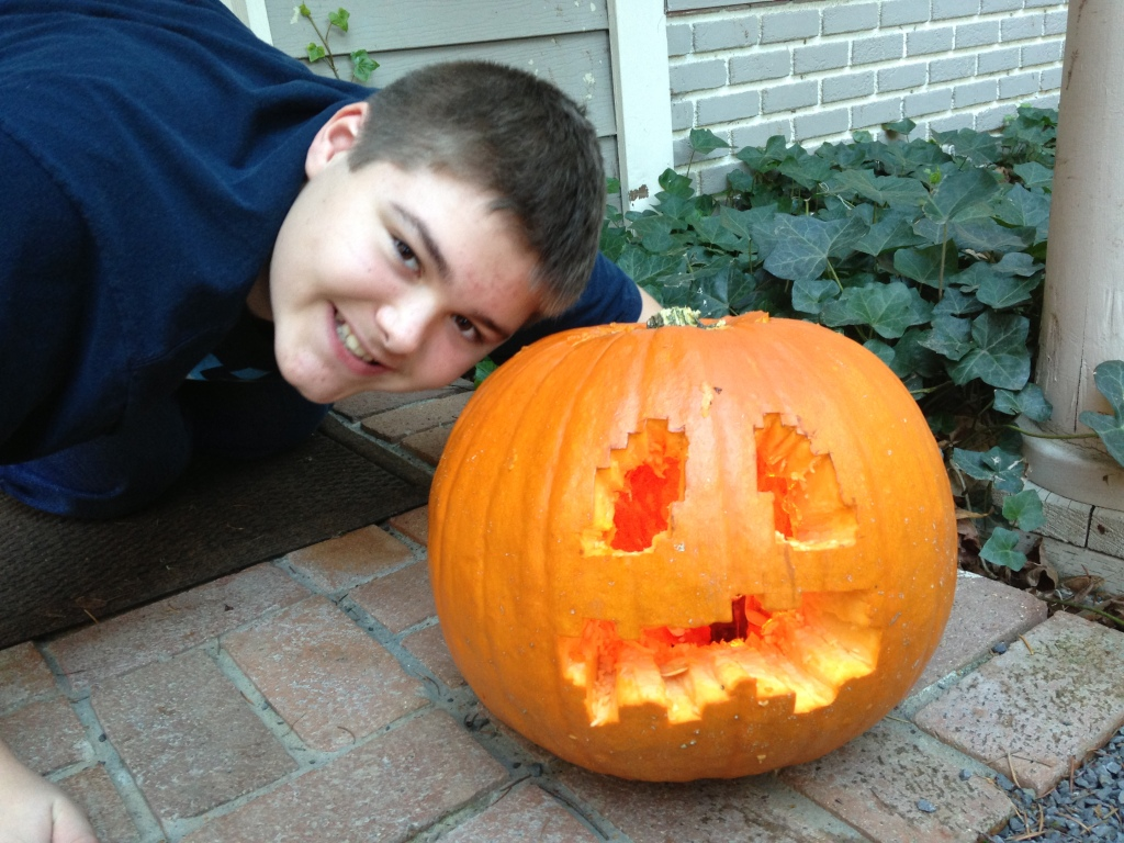 Ben with minecraft pumpkin