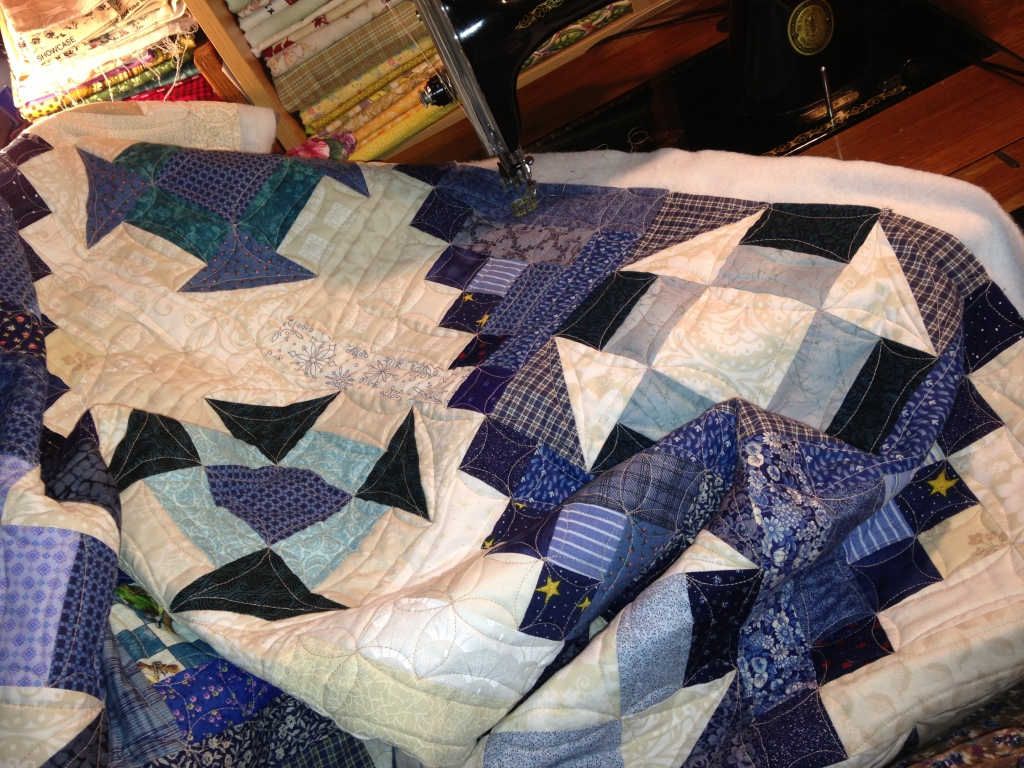 Quail's Nest being quilted by Priscilla