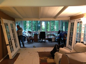 Installing french doors before