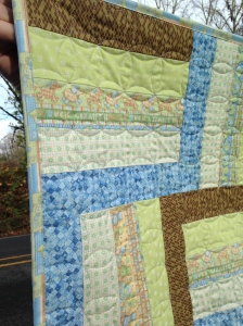 Zoo animals rail fence quilt close up